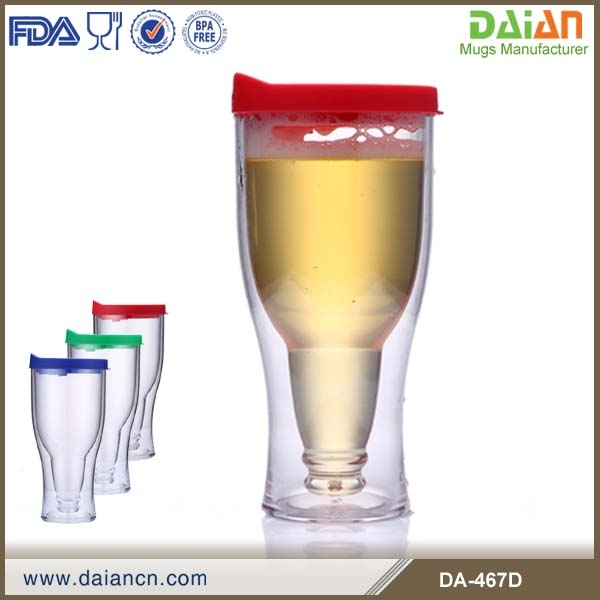 OEM double wall plastic beer mug freezer with lid