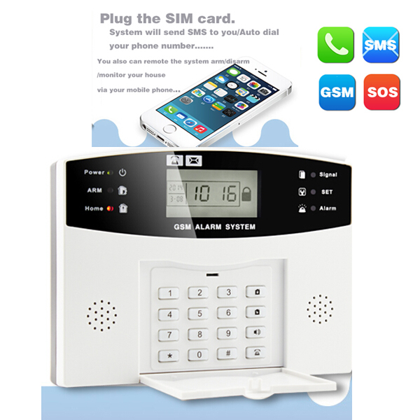 WIRELESS LCD GSM SIM AUTODIAL HOME HOUSE OFFICE BURGLAR INTRUDER SECURITY ALARM PG-500