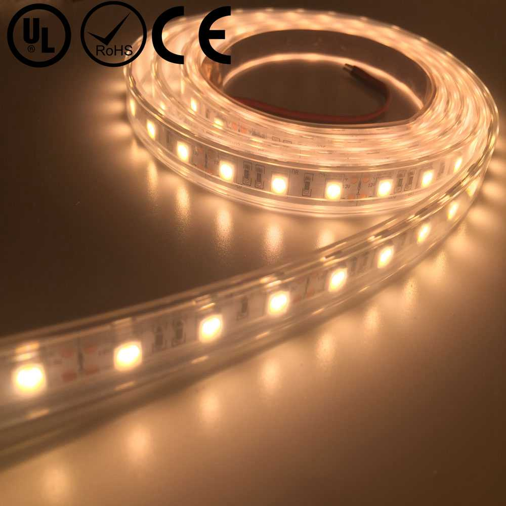 UL Listed Waterproof IP67 12V 4.5W 18LED 432LM Per Foot 16.4FT Per Roll Warm White 2700K CRI 80RA 5050 LED Tape Strip Light