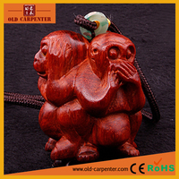 Funny ornament no seeing no hearing no bothering 3 Sides Monkey animals wood carving