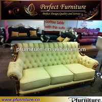 carved neoclassical leather furniture sofa PFS3897C