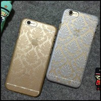 Most selling product Retro Lace Pattern Relief Sculpture Free Mobile Phone PC Case for iphone 5 6 6plus