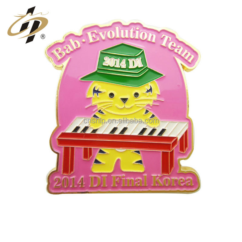 Custom school uniform logo cute music badges safety metal pin badge for kids
