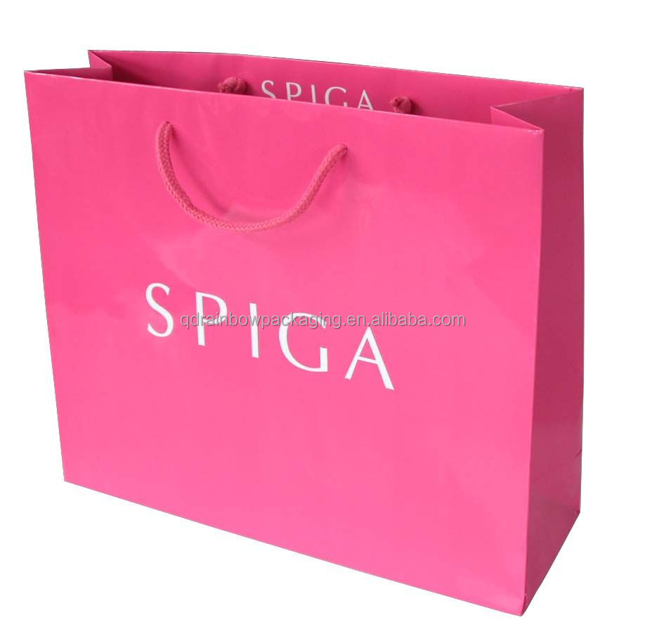 pink paper bag, gift bag and packaging bag handbag