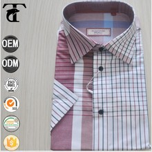 small check men dress shirt two color mix no pocket with polyester cotton from china