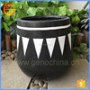 Hot selling in australia market fiberstone black garden planter with white triangle pattern painting
