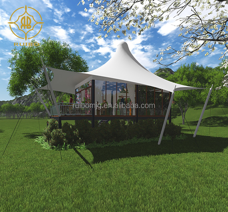 Prefab Outdoor Big Luxury Blackout Tent Fabric  Steel House Villa Shelter