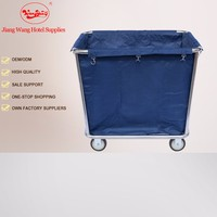 201 Stainless Steel Blue color hotel dirty soiled linen trolley