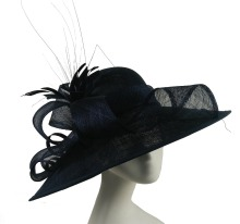 ABPF Black Wide Brim Sinamay Fabric Derby Church Party Hats For Women
