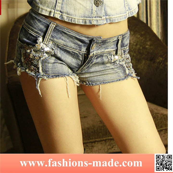 Girls Sexy Ripped Jeans Shorts with Paillette