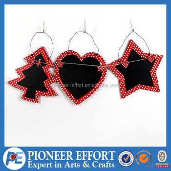 decorative star heart tree metal wood hanging christmas blackboard tree ornaments for 2015 christmas gift