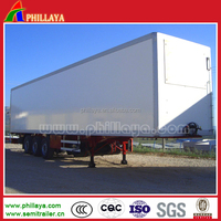 China tri-axle enclosed cargo box semi trailer for sale , box or van truck semitrailer
