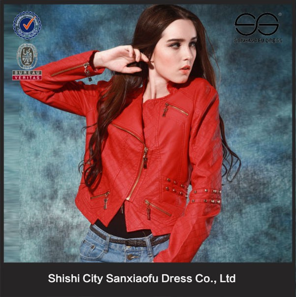 2015 Wholesale Girls Leather Jacket, Red Jacket, Half Jackets for Dresses