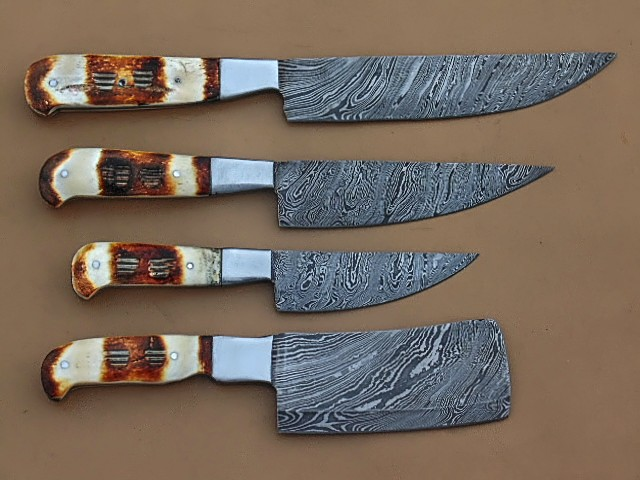 Damascus Steel Kitchen Knives 4 Pieces Set