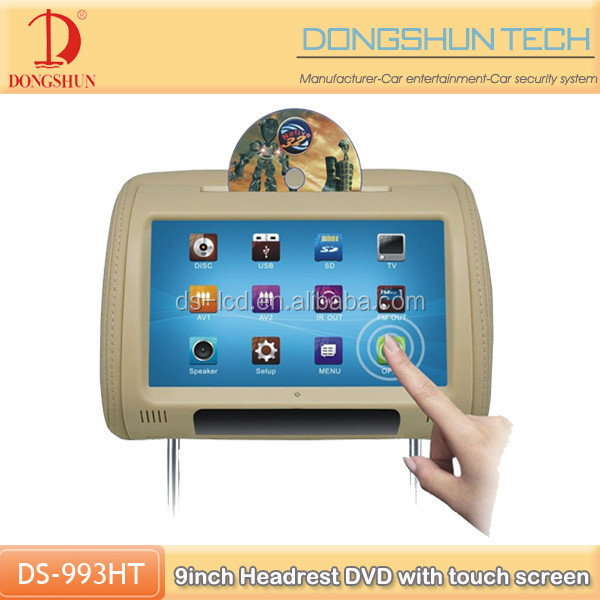 9 inch car headrest dvd with touch screen