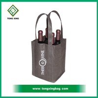 100% recycle non woven wine tote bag for four bottles
