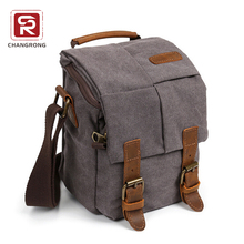Hiking travelling shoulder canvas camera bag with genuine leather trim