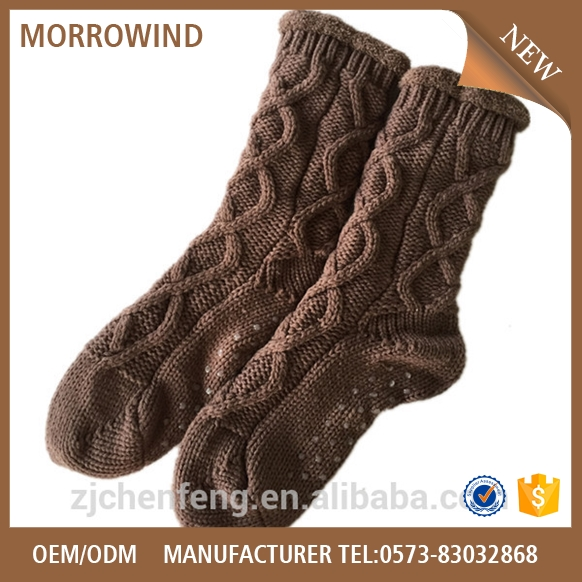 women acrylic wholesale warm slipper cable knit sock for floor home use