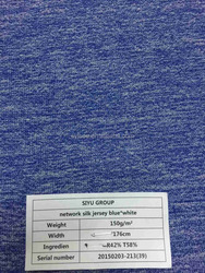 breathable blue and white network jersey knitted fabric