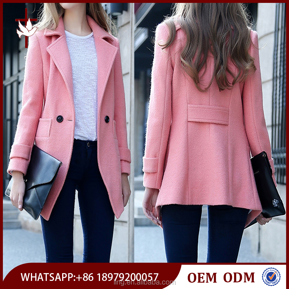 High Quality Polyester / Wool Autumn Classic Women's Wool Coat