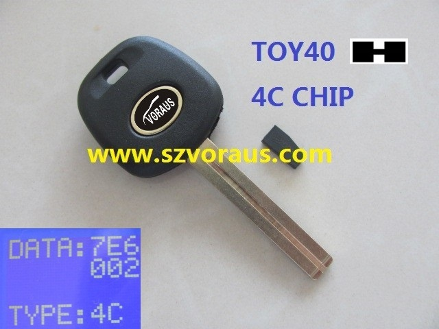 Le transponder key TOY 40 type; 4C chip