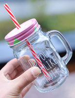 wholesale 16oz glass mason jars with straw lid