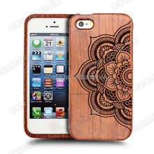 OEM Mandala Engraving wood phone case two parts for Iphone 6