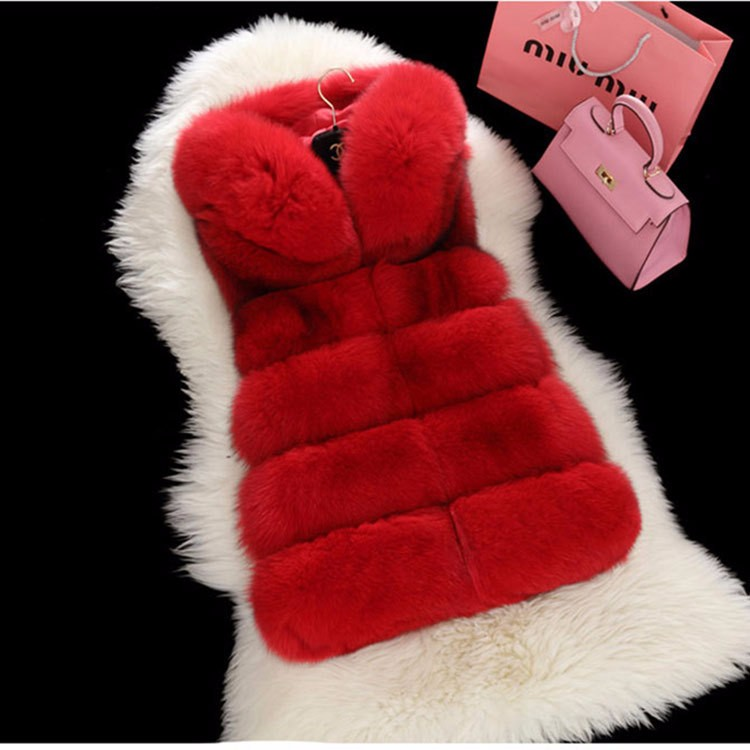 Luxury Womens Fox Faux Fur Vest Coat Sleeveless Short Waistcoat