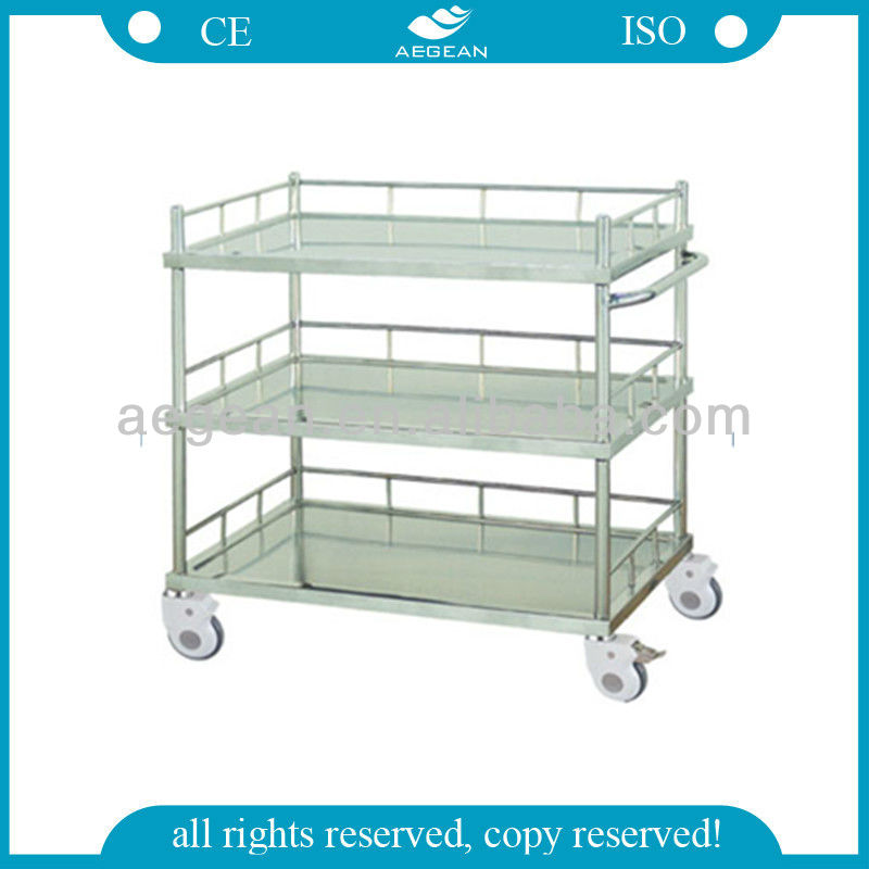 AG-SS022B Hot Sale! Top Quality Treatment Metal Rail Trolley