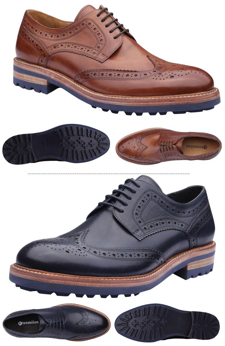 2016 nuevo estilo de zapatos de vestir de hombre italiano de cuero suela de goma comodidad