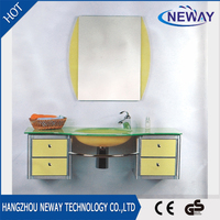 Simple design tempered glass wash basin with cabinet