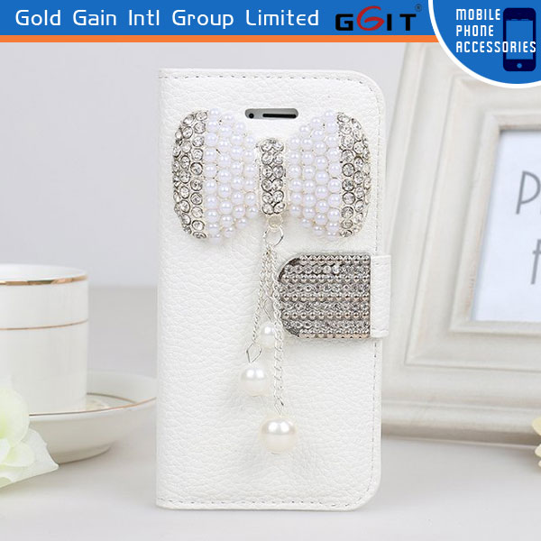 Lichee Pattern Flip Cover For Samsung S4 I9500 Bowknot Pearl Case