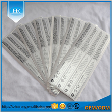 Waterproof matte silver PET/PVC adhesive barcode stickers,thermal transfer polyester glossy label printing
