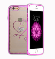 Ultra Thin Metal Bumper Ex Frame with Heart Diamond Decorative Back Cover Cell Phone Cases for Iphone6 6plus 5s