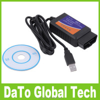 50pcs/lot Free DHL Shipping ELM327 USB Plastic OBD2 Auto Diagnostic Tool Version V1.5 Interface CAN-BUS Scanner