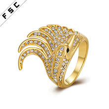 Hot selling unisex yellow gold plated with rhinestone geometrical fancy Czech stainless steel ring for men and women