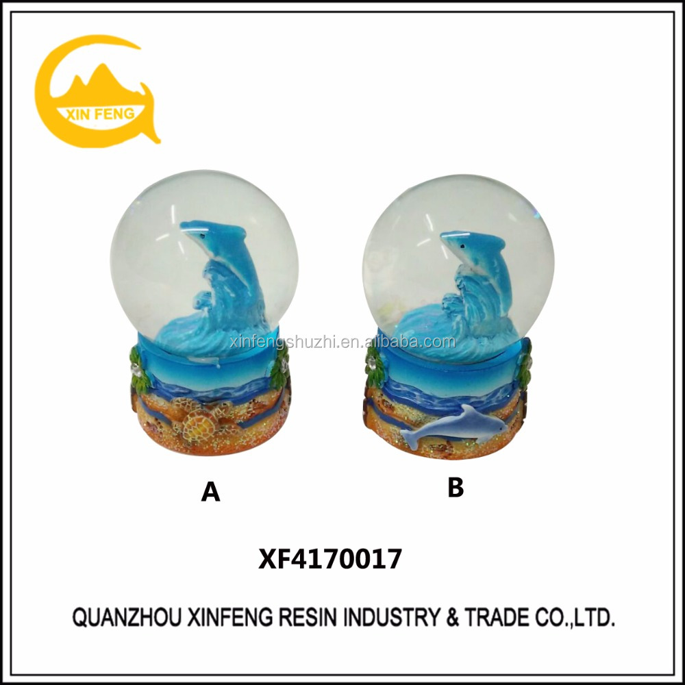 Handpainted Resin dolphin cheap water Snow globe /water ball