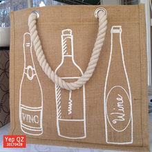 Silkscreen printing eco-friendly shopper 6 bottles jute wine bag