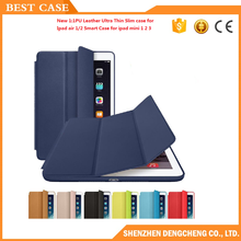 New 1:1PU Leather Ultra Thin Slim case for ipad air 1/2 Smart Case for ipad mini 1 2 3