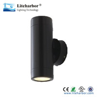 MR16 6W Black Cylinder Garden Modern Wall Lamp Outdoor