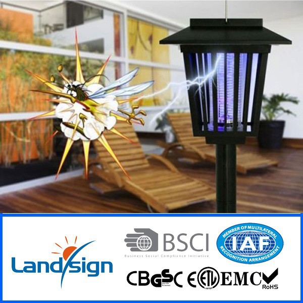 Hot sale Garden LED lighting fry trap+high efficiency light weight solar panel+solar mosquito killer lamp
