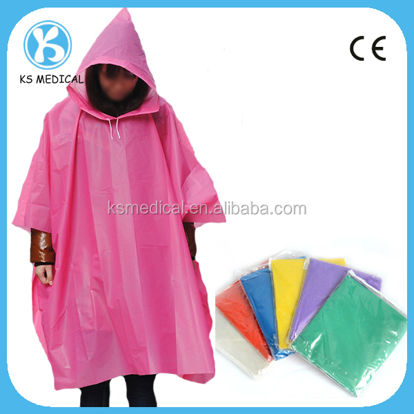 Disposable waterproof cheap rain poncho with sleeves