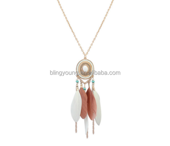 Multicolor feather necklace trendy western long chain alloy necklace