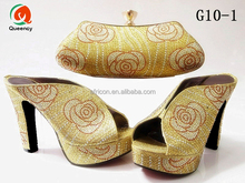 G10 Queency Wholesale High Quality Italian Lady High Heel Stone Dress Shoes Matching with Bag Sets for African Party