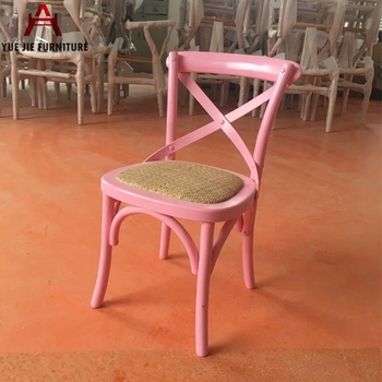 Pink Colorful Kids Cross Back Dining Chair