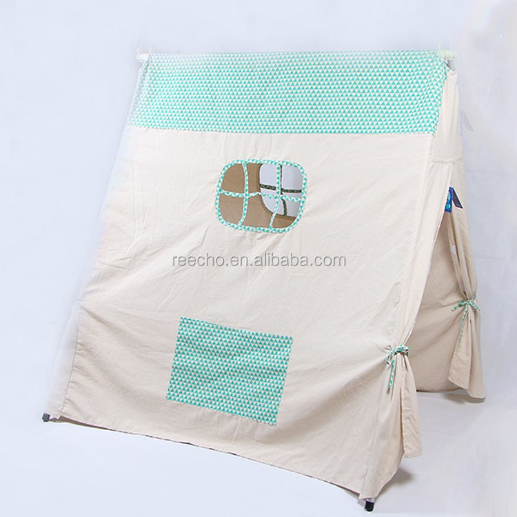 100% Handmade Cotton Canvas Metal Poles Inclined Roof Kids Single Layer Tent