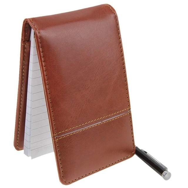 Small Pocket PU Leather Business Memo Pad Holder with Digital Calculator Pen Holder Loop