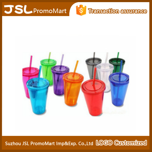 2016 Promotional 16 oz Double Wall Plastic Tumbler with straw