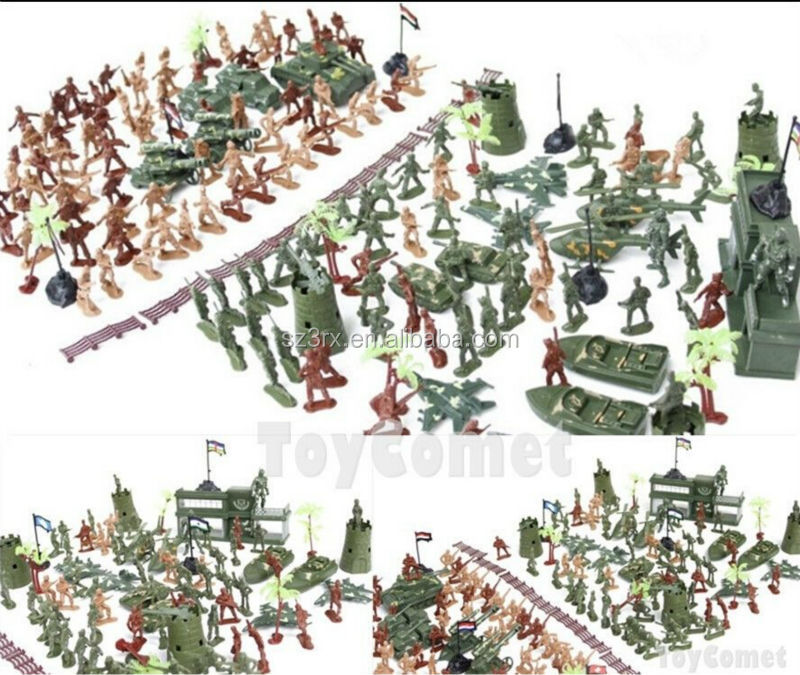 238 pcs Military Plastic Toy Soldiers 5cm Figures Army Playset w/Track