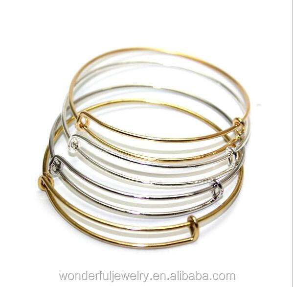 Wiring Bangle Charm Bracelet Expandable Adjustable Alloy Antique Silver Gold Plated Jewelry For Women
